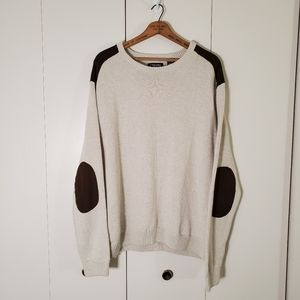 Chaps Faux Suede Elbow Patch Knit Sweater